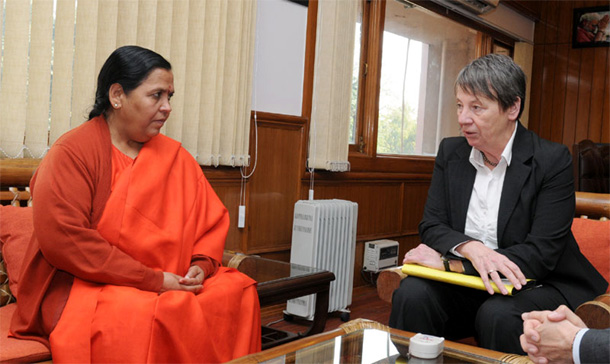Environment Minister, Germany, Ms. Barbara Hendricks calling on the Union Minister for Water Resources, River Development and Ganga Rejuvenation, Sushri Uma Bharti