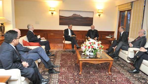 The Global CEOs calling on the Prime Minister, Narendra Modi, in New Delhi on February 02, 2015.