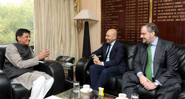 The Minister of State for Commerce, Spain, Jaime Garcia Legaz calls on the Minister of State (Independent Charge) for Power, Coal and New and Renewable Energy, Piyush Goyal, in New Delhi on February 03, 2015.