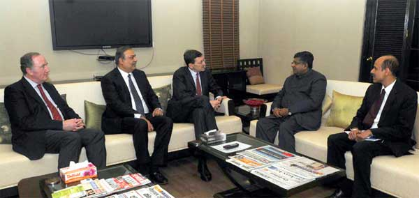 The Group CEO, Vodafone Plc, Mr. Vittorio Colao and the Vodafone External Affairs Director, Matthew Kirk meeting the Union Minister for Communications & Information Technology, Ravi Shankar Prasad, in New Delhi on February 03, 2015.