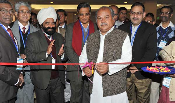 The Union Minister for Mines and Steel, Narendra Singh Tomar inaugurating the Exhibition of the 54th Central Geological Programming Board Meeting, in New Delhi on February 05, 2015. The Secretary, Ministry of Mines, Dr. Anup K. Pujari is also seen.