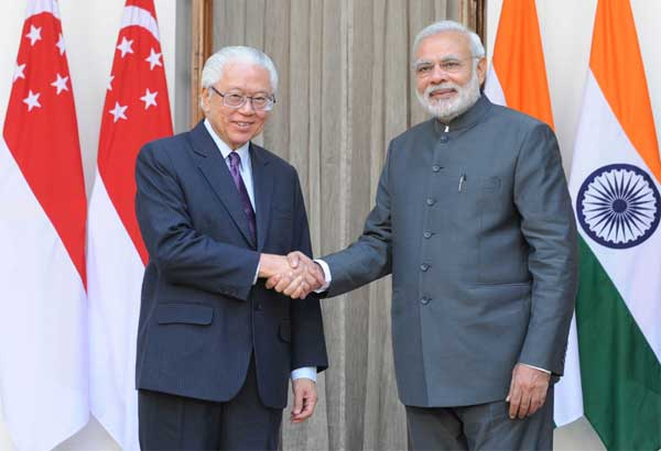 The Prime Minister, Narendra Modi and the President of the Republic of Singapore, Dr. Tony Tan Keng Yam, at Hyderabad House, in New Delhi on February 09, 2015.