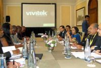 The Minister for Mines and Steel, Narendra Singh Tomar and other Indian officials meeting a delegation