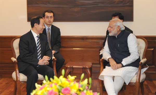 The Director of the International Department of the Central Committee of the Communist Party of China, Wang Jiarui calls on the Prime Minister, Narendra Modi, in New Delhi on February 13, 2015.