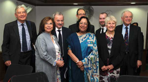 The Union Minister for Minority Affairs, Dr. Najma A. Heptulla with a delegation led by the Lord Speaker, UK, Baroness D'Souza, in New Delhi on February 16, 2015.