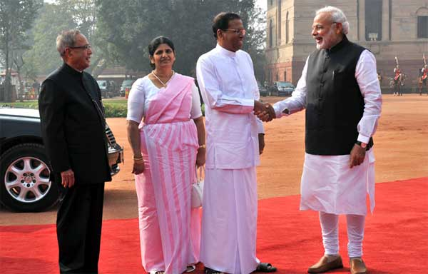 The President of the Democratic Socialist Republic of Sri Lanka, Maithripala Sirisena and Jayanthi Sirisena being welcomed by the President, Pranab Mukherjee and the Prime Minister, Narendra Modi, at the Ceremonial Reception at Rashtrapati Bhavan, in New Delhi on February 16, 2015.