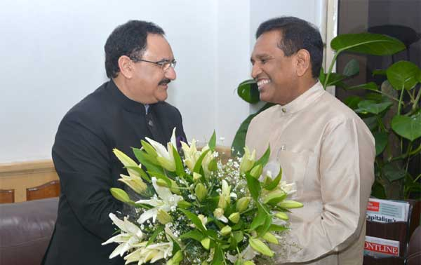 The Minister of Health and Indigenous Medicine, Sri Lanka, Rajitha Senaratne calling on the Union Minister for Health & Family Welfare, Jagat Prakash Nadda, in New Delhi on February 16, 2015.