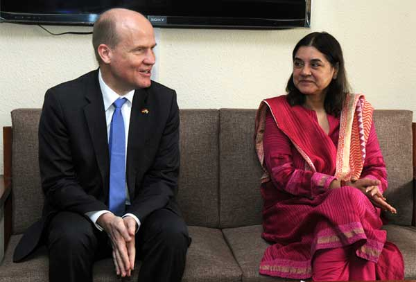 A delegation of German Parliamentarians led by Ralph Brinkhaus calls on the Union Minister for Women and Child Development, Maneka Sanjay Gandhi, in New Delhi on February 17, 2015.