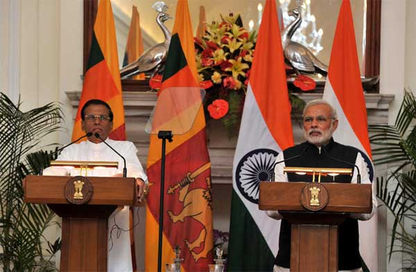 The Prime Minister, Narendra Modi and the President of the Democratic Socialist Republic of Sri Lanka, Maithripala Sirisena giving media statement, during the Joint Press Interaction, in New Delhi on February 16, 2015.