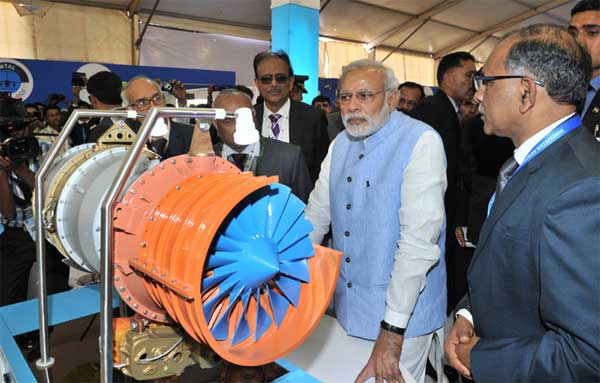 The Prime Minister, Narendra Modi visiting the exhibition of the Aero India-2015 Air Show, at Yelahanka Air-force Station, in Bengaluru on February 18, 2015.