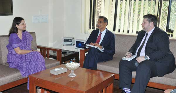 The US Ambassador to India, Richard Verma meeting the Union Minister for Women and Child Development, Maneka Sanjay Gandhi, in New Delhi on February 20, 2015.
