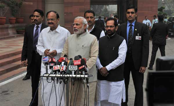 The Prime Minister, Narendra Modi giving statement to the media ahead of Budget Session of Parliament, in New Delhi on February 23, 2015. The Union Minister for Urban Development, Housing and Urban Poverty Alleviation and Parliamentary Affairs, M. Venkaiah Naidu, the Minister of State for Skill Development & Entrepreneurship (Independent Charge) and Parliamentary Affairs, Rajiv Pratap Rudy and the Minister of State for Minority Affairs and Parliamentary Affairs, Mukhtar Abbas Naqvi are also seen.