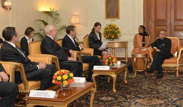 A parliamentary delegation led by the Chairman of State Duma, Federal Assembly of Russian Federation, Sergey Naryshkin calling on the President, Pranab Mukherjee, at Rashtrapati Bhavan, in New Delhi on February 26, 2015.