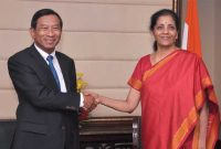 The Minister of Commerce, Thailand, General Chatchai Sarikulya meeting the MoS for Commerce & Industry (IC), Nirmala Sitharaman