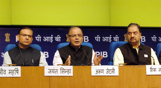 Finance Minister Arun Jaitley addressing a Post Budget Press Conference