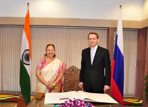 Sergey Naryshkin, speaker of the Russian parliament with Lok Sabha Speaker Sumitra Mahajan