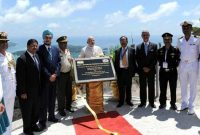 The Prime Minister, Shri Narendra Modi unveiling the plaque and operationalization of Radar for the CSRS India-Seychelles Cooperation
