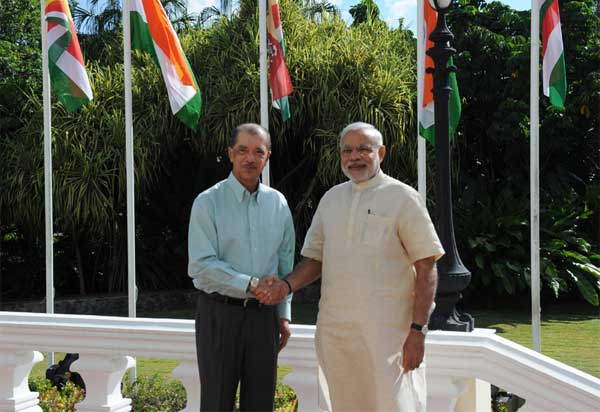 The Prime Minister, Narendra Modi One-to-One meeting the President of Seychelles, James Michel, at State House, in Mahe, Seychelles on March 11, 2015.