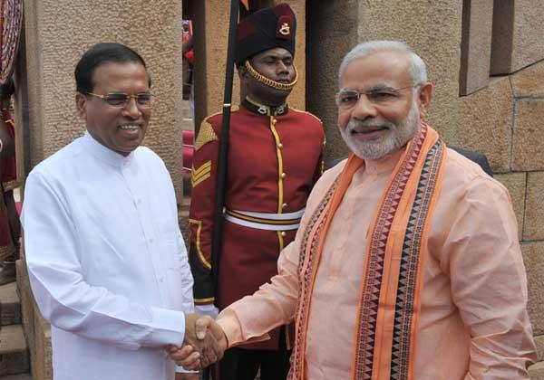 The Prime Minister, Narendra Modi with the President of the Democratic Socialist Republic of Sri Lanka, Maithripala Sirisena, at the ceremonial reception, in Colombo, Sri Lanka on March 13, 2015.