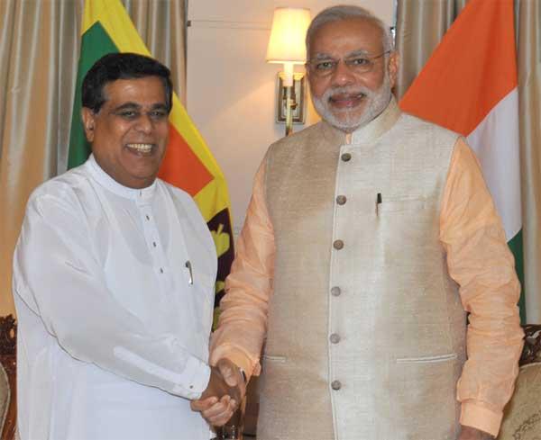 The Leader of the Opposition, Nirmal Sripala de Silva meeting the Prime Minister, Narendra Modi, in Colombo, Sri Lanka on March 13, 2015.