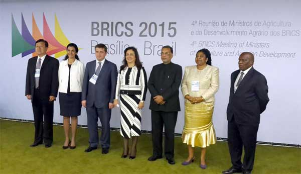 The Union Minister for Agriculture, Radha Mohan Singh at the concluding session of the 4th BRICS Agriculture Ministers meeting, in Brazil on March 13, 2015.