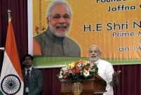 The Prime Minister, Narendra Modi delivering his address at the laying foundation stone ceremony of the Jaffna Cultural Centre