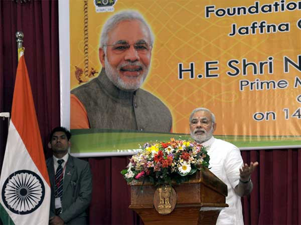 The Prime Minister, Narendra Modi delivering his address at the laying foundation stone ceremony of the Jaffna Cultural Centre, in Sri Lanka on March 14, 2015.