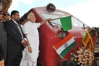 The Prime Minister, Narendra Modi flagging off the Talaimannar-Madu Road train, in Sri Lanka on March 14, 2015.