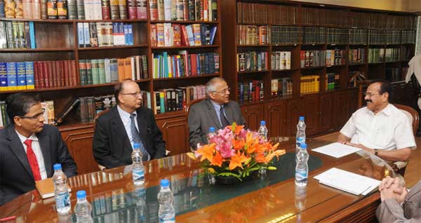 A delegation led by the Chief Justice of Nepal, Ramkumar Prasad Shah meeting the Union Minister for Law & Justice, D.V. Sadananda Gowda, in New Delhi on March 17, 2015.