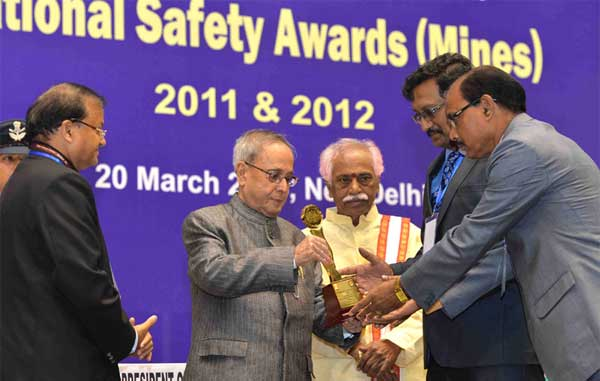 The President, Pranab Mukherjee presented the National Safety Awards (Mines) for the years 2011 & 2012, at a function, in New Delhi on March 20, 2015. The Minister of State for Labour and Employment (Independent Charge), Bandaru Dattatreya and the Secretary, Ministry of Labour and Employment, Shankar Aggarwal are also seen.