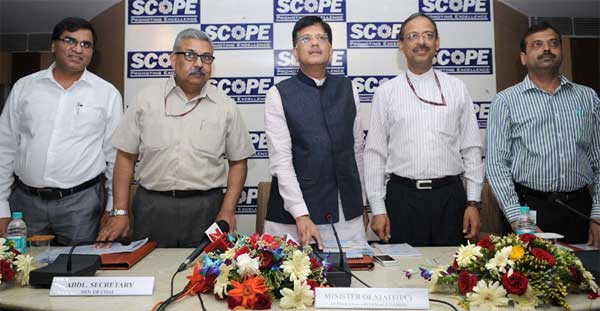 The Minister of State (Independent Charge) for Power, Coal and New and Renewable Energy, Piyush Goyal launching the Coal Project Monitoring Portal, in New Delhi on March 26, 2015. The Secretary, Ministry of Coal, Anil Swarup is also seen.