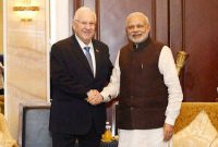 The Prime Minister, Narendra Modi meeting the President of Israel, Reuven Rivlin, in Singapore on March 29, 2015.