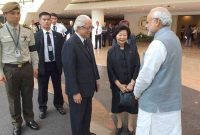 The President of Singapore, Tony Tan Keng Yam with the Prime Minister, Narendra Modi, in Singapore on March 29, 2015.