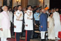 The Vice President, Mohd. Hamid Ansari and the Prime Minister, Narendra Modi at the Civil Investiture Ceremony,