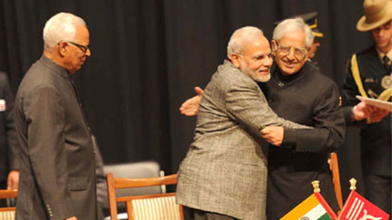 PM Narendra Modi congratulating Mufti Mohammad Sayeed after swearing-in as Jammu and Kashmir Chief Minister