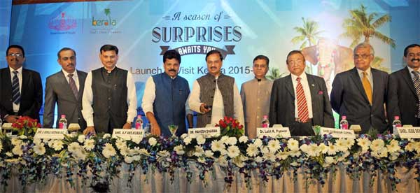 The Minister of State for Culture (Independent Charge), Tourism (Independent Charge) and Civil Aviation, Dr. Mahesh Sharma launching 'The Visit Kerala Initiative' of Kerala Tourism, in New Delhi on April 09, 2015. The Minister of Welfare of Scheduled castes, Backward Classes & Tourism, Kerala, A.P. Anil Kumar, the Secretary, Ministry of Tourism, Dr. Lalit K. Panwar and other dignitaries are also seen.