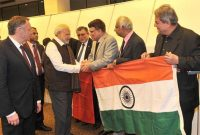 The Prime Minister, Narendra Modi being welcomed on his arrival, at Paris Orly International Airport, in France on April 09, 2015.