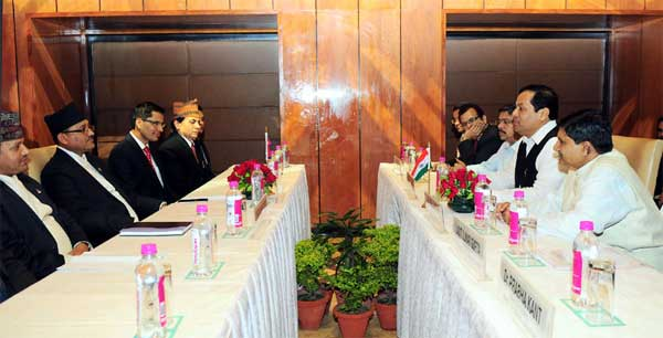 The Minister of State for Youth Affairs and Sports (Independent Charge), Sarbananda Sonowal and the Minister of Youth and Sports, Nepal, Purushottam Paudel at a delegation level talks, in New Delhi on April 09, 2015.