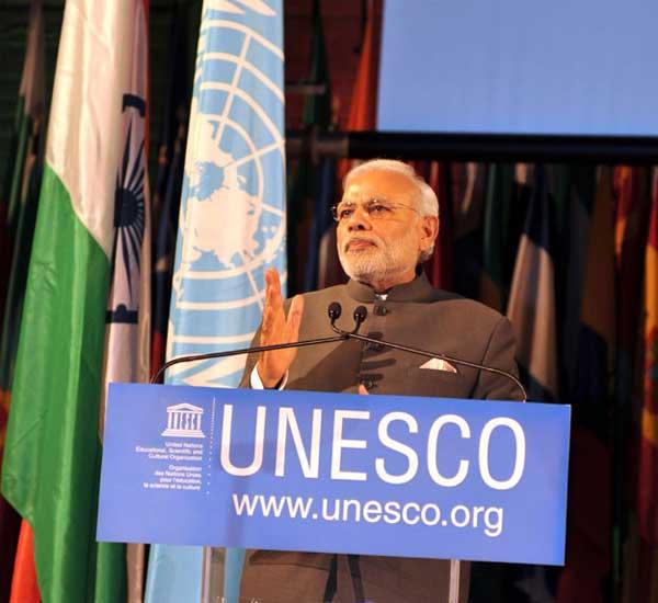 The Prime Minister, Narendra Modi delivering his address, at UNESCO, in Paris on April 10, 2015.