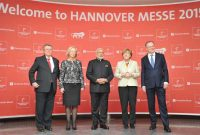 The Prime Minister, Narendra Modi, the German Chancellor, Angela Merkel and other dignitaries at the Opening Ceremony
