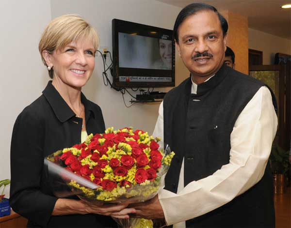 The Minister of Foreign Affairs, Australia, Julie Bishop meeting the Minister of State for Culture (Independent Charge), Tourism (Independent Charge) and Civil Aviation, Dr. Mahesh Sharma, in New Delhi on April 13, 2015.