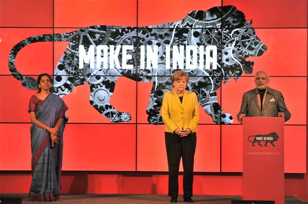 The Prime Minister, Narendra Modi addressing at the Joint Inauguration of the India Pavilion at the Hannover Messe, in Germany on April 13, 2015. The German Chancellor, Angela Merkel and the Minister of State for Commerce & Industry (Independent Charge), Nirmala Sitharaman are also seen.