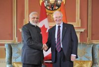 The Prime Minister, Narendra Modi meeting the Governor General of Canada, the Right Honourable David Johnston, at Ottawa