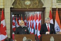 The Prime Minister, Narendra Modi with the Prime Minister of Canada, Stephen Harper, during the Joint Press interaction