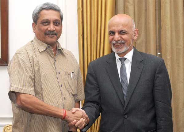 The Union Minister for Defence, Manohar Parrikar calling on the President of the Islamic Republic of Afghanistan, Dr. Mohammad Ashraf Ghani, in New Delhi on April 28, 2015.