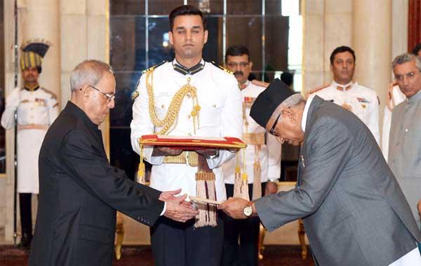 The Ambassador-designate of Nepal, Deep Kumar Upadhyay presenting his credential to the President, Pranab Mukherjee, at Rashtrapati Bhavan, in New Delhi on April 30, 2015.