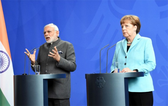 Prime Minister Narendra Modi & German Chancellor Angela Merkel during the Joint Press Statement in Berlin, Germany