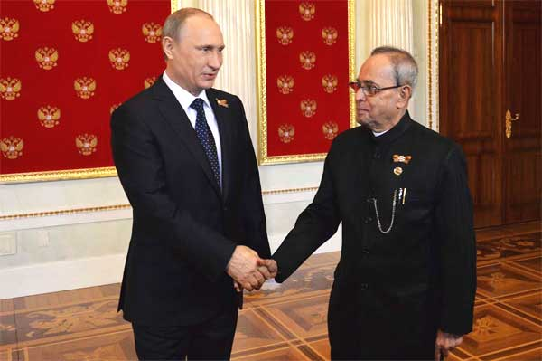 The President of India, Pranab Mukherjee, being received by Vladimir V Putin, the President of the Russian Federation on his meeting at Kremlin during his state visit at Russia (Moscow) on May 09, 2015.