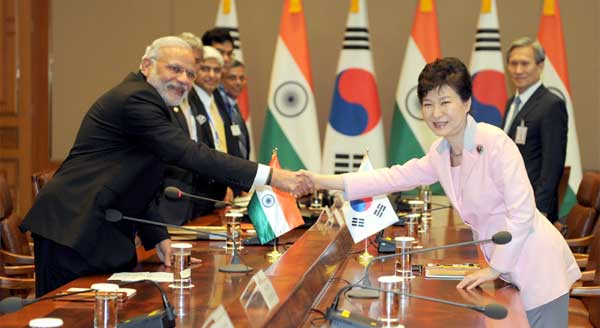 The Prime Minister, Narendra Modi and the President of Republic of Korea, Park Geun-hye, at the delegation Level Talks between India and South Korea, in Seoul, South Korea on May 18, 2015.
