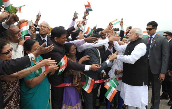 The Prime Minister, Narendra Modi greeted by the people on his arrival, at ROK Airbase, in Seoul, South Korea on May 18, 2015.